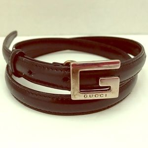 Vintage GUCCI Leather Skinny Belt 75cm 30'' Italy